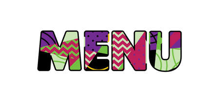 The word MENU concept written in colorful abstract typography. Stock Illustratie