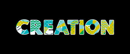 The word CREATION concept written in colorful abstract typography.