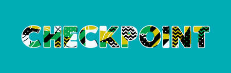 The word CHECKPOINT concept written in colorful abstract typography.