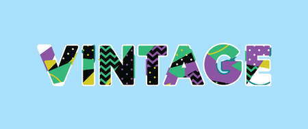 The word VINTAGE concept written in colorful abstract typography.