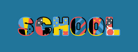 The word SCHOOL concept written in colorful abstract typography. 向量圖像