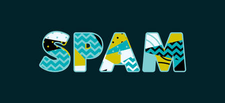 The word SPAM concept written in colorful abstract typography.