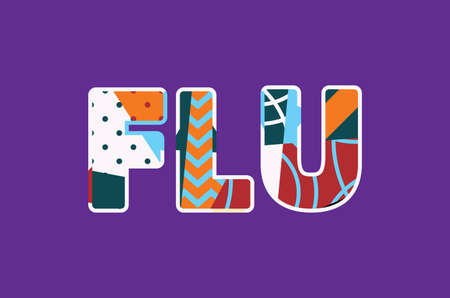The word FLU concept written in colorful abstract typography. Stock Illustratie