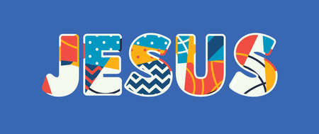 The name JESUS concept written in colorful abstract typography. Ilustração