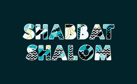 The words SHABBAT SHALOM concept written in colorful abstract typography. Vector EPS 10 available. Stock Vector - 103630584