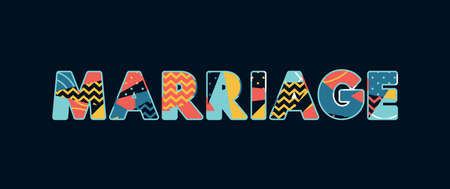 The word MARRIAGE concept written in colorful abstract typography. Vector EPS 10 available.