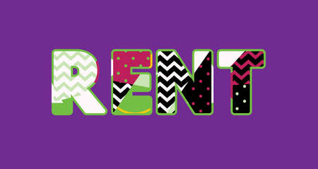 The word RENT concept written in colorful abstract typography. Vector EPS 10 available. Illustration