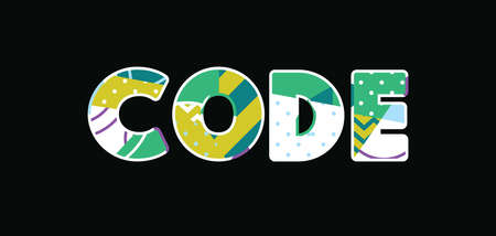 The word CODE concept written in colorful abstract typography. Vector EPS 10 available.