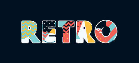 The word RETRO concept written in colorful abstract typography. Vector EPS 10 available.