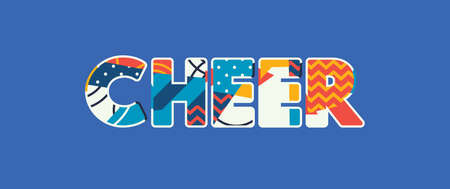 The word CHEER concept written in colorful abstract typography. Vector EPS 10 available.  イラスト・ベクター素材