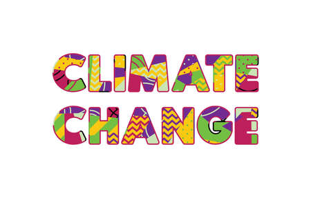 The words CLIMATE CHANGE concept written in colorful abstract typography. Vector EPS 10 available.