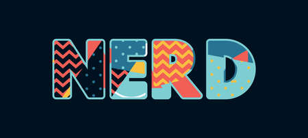 The word NERD concept written in colorful abstract typography. Vector EPS 10 available. Ilustração