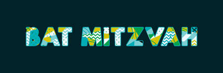 The words BAT MITZVAH concept written in colorful abstract typography. Vector EPS 10 available.