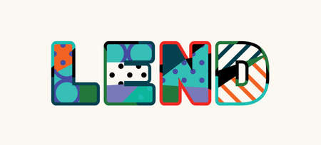 The word LEND concept written in colorful abstract typography. Vector EPS 10 available.