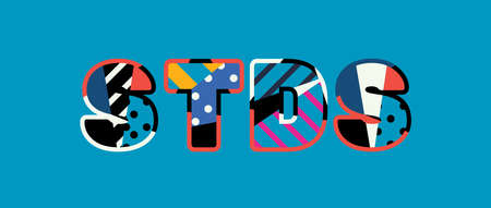 The word STDS concept written in colorful abstract typography. Vector EPS 10 available.