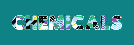 The word CHEMICALS concept written in colorful abstract typography. Vector EPS 10 available.
