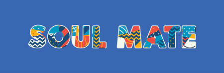 The words SOUL MATE concept written in colorful abstract typography. Vector EPS 10 available.