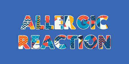 The words ALLERGIC REACTION concept written in colorful abstract typography. Vector EPS 10 available. 向量圖像