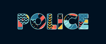 The word POLICE concept written in colorful abstract typography. Vector EPS 10 available.