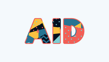 The word AID concept written in colorful abstract typography. Vector EPS 10 available. Ilustração