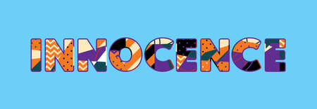The word Innocence concept written in colorful abstract typography. Vector EPS 10 available.