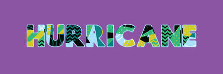 The word HURRICANE concept written in colorful abstract typography. Vector EPS 10 available.
