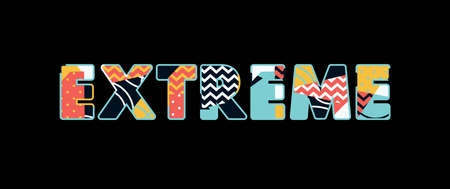 The word EXTREME concept written in colorful abstract typography. Vector EPS 10 available.  イラスト・ベクター素材