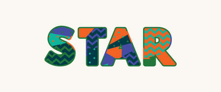 The word STAR concept written in colorful abstract typography. Vector EPS 10 available.