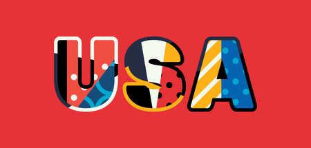 The letters USA concept written in colorful abstract typography. Vector EPS 10 available.