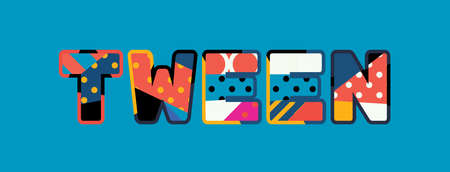 The word TWEEN concept written in colorful abstract typography. Vector EPS 10 available.