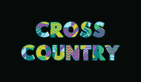 The word CROSS COUNTRY concept written in colorful abstract typography. Vector EPS 10 available.