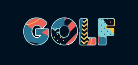 The word GOLF concept written in colorful abstract typography. Vector EPS 10 available.