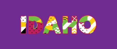 The word IDAHO concept written in colorful abstract typography. Vector EPS 10 available.