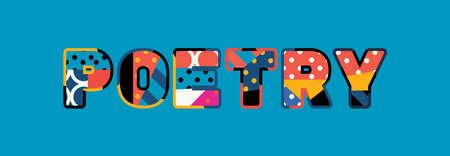 El concepto de palabra POESÍA escrito en tipografía abstracta colorida. Vector EPS 10 disponible.