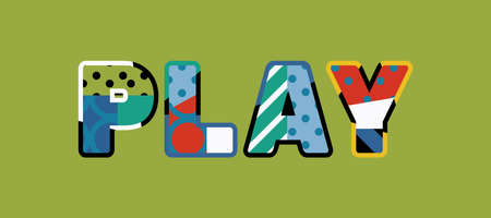 The word PLAY concept written in colorful abstract typography. Vector EPS 10 available.