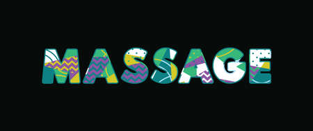 The word MASSAGE concept written in colorful abstract typography. Vector EPS 10 available. Illustration