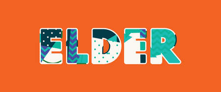 The word ELDER concept written in colorful abstract typography. Vector EPS 10 available. Illusztráció