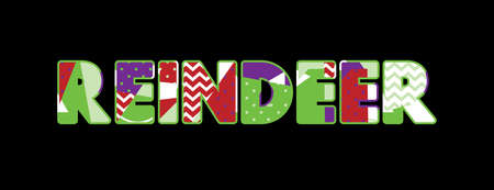 The word REINDEER concept written in colorful abstract typography. Vector EPS 10 available.