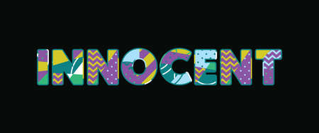 The word INNOCENT concept written in colorful abstract typography. Vector EPS 10 available.