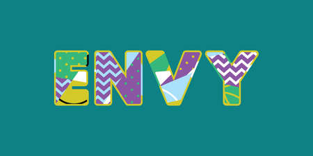 The word ENVY concept written in colorful abstract typography. Vector EPS 10 available. Ilustração