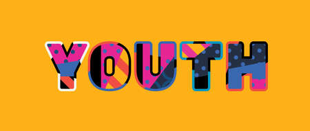The word YOUTH concept written in colorful abstract typography. Vector EPS 10 available.