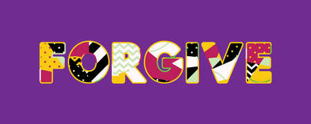 The word FORGIVE concept written in colorful abstract typography. Vector EPS 10 available. Çizim