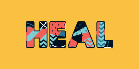 The word HEAL concept written in colorful abstract typography. Vector EPS 10 available. Illusztráció