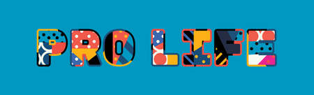 The word PRO LIFE concept written in colorful abstract typography. Vector EPS 10 available.