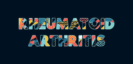 The words RHEUMATOID ARTHRITIS concept written in colorful abstract typography. Vector EPS 10 available.