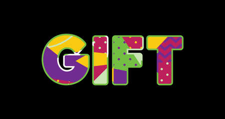 The word GIFT concept written in colorful abstract typography. Vector EPS 10 available.