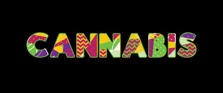 The word CANNABIS concept written in colorful abstract typography. Vector EPS 10 available. Illustration