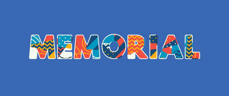 The word MEMORIAL concept written in colorful abstract typography. Vector EPS 10 available.