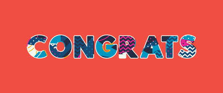 The word CONGRATS concept written in colorful abstract typography. Vector EPS 10 available.
