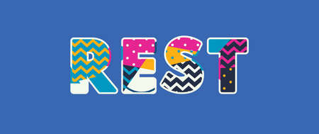 The word REST concept written in colorful abstract typography. Vector EPS 10 available.  イラスト・ベクター素材